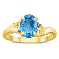8X6MM Blue Topaz and Diamond Wave Ring in 10K Yellow Gold