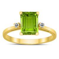 Emerald Cut 8X6MM Peridot and Diamond Three Stone Ring in 10K Yellow Gold