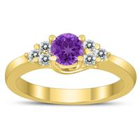 5MM Amethyst and Diamond Cynthia Ring in 10K Yellow Gold