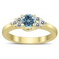 5MM Aquamarine and Diamond Cynthia Ring in 10K Yellow Gold