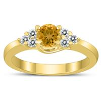 5MM Citrine and Diamond Cynthia Ring in 10K Yellow Gold