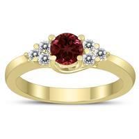 5MM Garnet and Diamond Cynthia Ring in 10K Yellow Gold