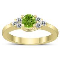 5MM Peridot and Diamond Cynthia Ring in 10K Yellow Gold