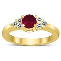 5MM Ruby and Diamond Cynthia Ring in 10K Yellow Gold