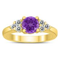 6MM Amethyst and Diamond Cynthia Ring in 10K Yellow Gold