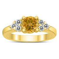 6MM Citrine and Diamond Cynthia Ring in 10K Yellow Gold