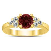 6MM Garnet and Diamond Cynthia Ring in 10K Yellow Gold