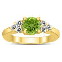 6MM Peridot and Diamond Cynthia Ring in 10K Yellow Gold