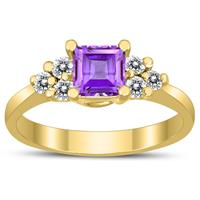 Princess Cut 5X5MM Amethyst and Diamond Duchess Ring in 10K Yellow Gold