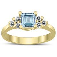 Princess Cut 5X5MM Aquamarine and Diamond Duchess Ring in 10K Yellow Gold