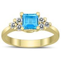 Princess Cut 5X5MM Blue Topaz and Diamond Duchess Ring in 10K Yellow Gold