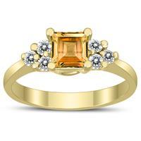 Princess Cut 5X5MM Citrine and Diamond Duchess Ring in 10K Yellow Gold