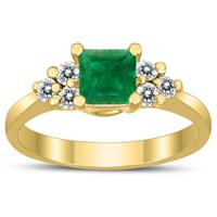 Princess Cut 5X5MM Emerald and Diamond Duchess Ring in 10K Yellow Gold