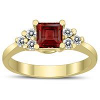 Princess Cut 5X5MM Garnet and Diamond Duchess Ring in 10K Yellow Gold