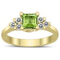 Princess Cut 5X5MM Peridot and Diamond Duchess Ring in 10K Yellow Gold