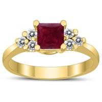 Princess Cut 5X5MM Ruby and Diamond Duchess Ring in 10K Yellow Gold