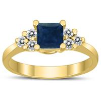 Princess Cut 5X5MM Sapphire and Diamond Duchess Ring in 10K Yellow Gold