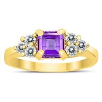Princess Cut 6X6MM Amethyst and Diamond Duchess Ring in 10K Yellow Gold