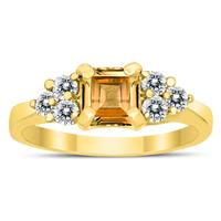 Princess Cut 6X6MM Citrine and Diamond Duchess Ring in 10K Yellow Gold