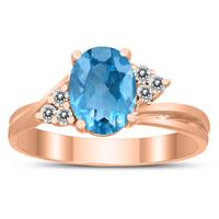 8X6MM Blue Topaz and Diamond Twist Ring in 10K Rose Gold