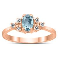 6X4MM Aquamarine and Diamond Regal Ring in 10K Rose Gold