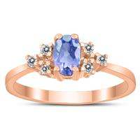 6X4MM Tanzanite and Diamond Regal Ring in 10K Rose Gold