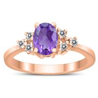7X5MM Amethyst and Diamond Regal Ring in 10K Rose Gold