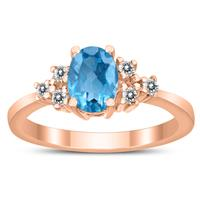 7X5MM Blue Topaz and Diamond Regal Ring in 10K Rose Gold