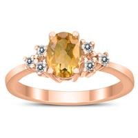 7X5MM Citrine and Diamond Regal Ring in 10K Rose Gold