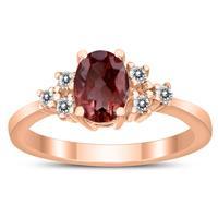 7X5MM Garnet and Diamond Regal Ring in 10K Rose Gold