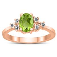 7X5MM Peridot and Diamond Regal Ring in 10K Rose Gold