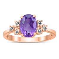 8X6MM Amethyst and Diamond Regal Ring in 10K Rose Gold