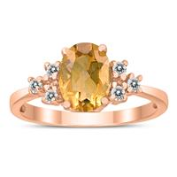 8X6MM Citrine and Diamond Regal Ring in 10K Rose Gold