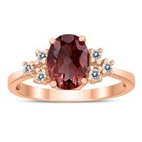 8X6MM Garnet and Diamond Regal Ring in 10K Rose Gold