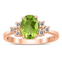 8X6MM Peridot and Diamond Regal Ring in 10K Rose Gold