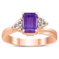 7X5MM Amethyst and Diamond Twist Ring in 10K Rose Gold