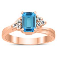 7X5MM Blue Topaz and Diamond Twist Ring in 10K Rose Gold