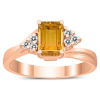 7X5MM Citrine and Diamond Twist Ring in 10K Rose Gold