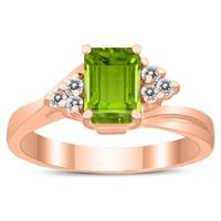 7X5MM Peridot and Diamond Twist Ring in 10K Rose Gold