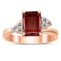 8X6MM Garnet and Diamond Twist Ring in 10K Rose Gold
