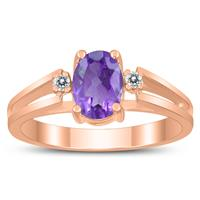 7X5MM Amethyst and Diamond Open Three Stone Ring in 10K Rose Gold
