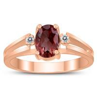 7X5MM Garnet and Diamond Open Three Stone Ring in 10K Rose Gold