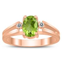 7X5MM Peridot and Diamond Open Three Stone Ring in 10K Rose Gold