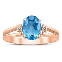 8X6MM Blue Topaz and Diamond Open Three Stone Ring in 10K Rose Gold