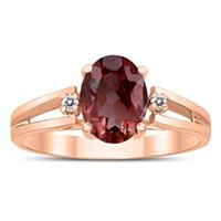 8X6MM Garnet and Diamond Open Three Stone Ring in 10K Rose Gold
