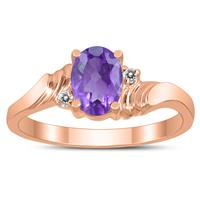 7X5MM Amethyst and Diamond Wave Ring in 10K Rose Gold