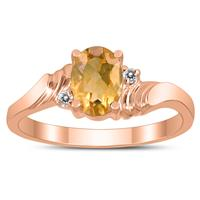 7X5MM Citrine and Diamond Wave Ring in 10K Rose Gold