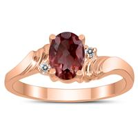 7X5MM Garnet and Diamond Wave Ring in 10K Rose Gold