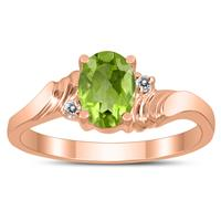 7X5MM Peridot and Diamond Wave Ring in 10K Rose Gold