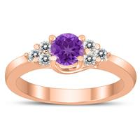 5MM Amethyst and Diamond Cynthia Ring in 10K Rose Gold